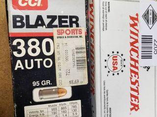 Full Box Winchester 380 Auto and Partial Box of Blazer 380 Auto