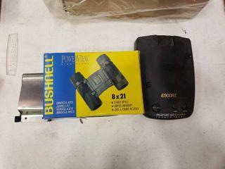 Bushnell Binoculars and Escort Passport laser Detector with Money Clip