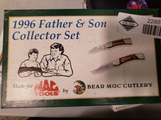 1996 Father and Son Collector Knife Set made for Mac Tools by Bear MGC Cutlery