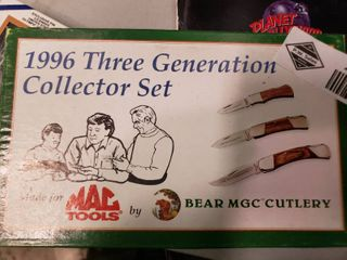 1996 Three Generation Collector Set made for Mac Tools by Bear MGC Cutlery