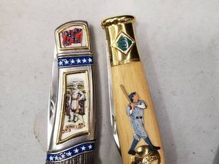 Franklin Mint Baseball and War Themed Collectors Knives