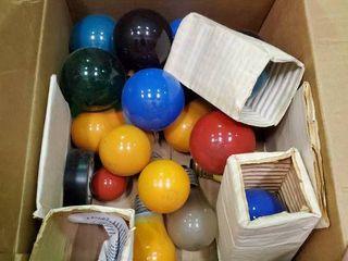 Box of Various Color light Bulbs