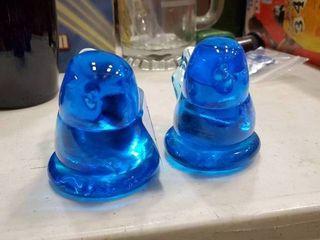 lot of 2 Blue Glass Birds