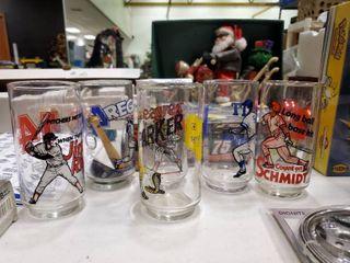lot of 6 Baseball Themed Drinking Glasses