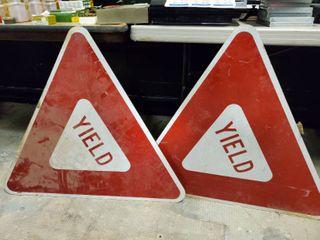 2 Metal  Yield  Street Signs