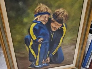 Framed Painting of Father and Son