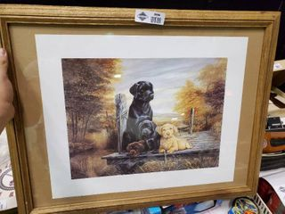 Framed Print of 4 labrador Dogs Signed by Ruane Manning