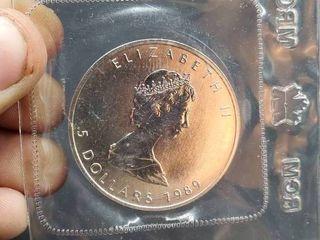 1989 Canadian 1 Oz Silver 5 Dollars  Elizabeth II 2nd Portrait  Coin