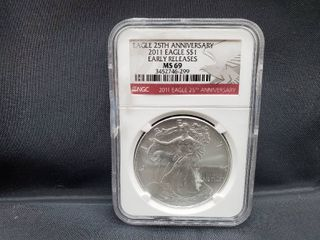 2011 American Silver Eagle NGC MS69 Early Releases  25th Anniversary Red label