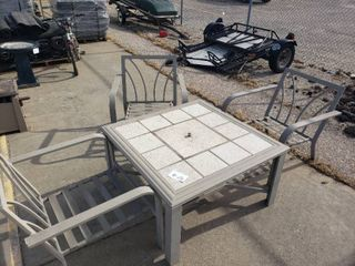 Square Patio Table with Fire Pit and 3 Chairs