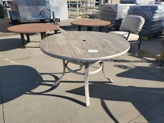 large Plank 48  Round Patio Table Barnwood Top