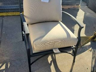 Black Metal Patio Chair with Tan Cushion
