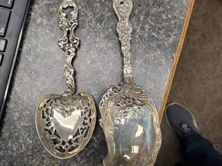 lot of 2 Antique Sterling Silver Serving Spoons