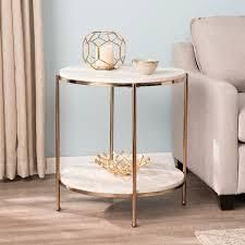 Silver Orchid Henderson Round Faux Stone End Table  Retail 121 99