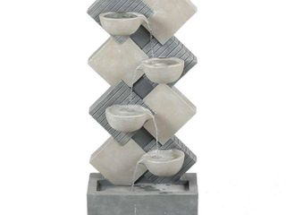 Cement Modern Tiered Pots Patio Fountain  Retail 252 49