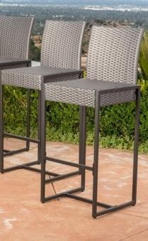 Conway Outdoor Wicker Barstool  Set of 2  by Christopher Knight Home  Retail 166 99