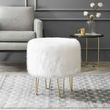 Silver Orchid Brody Round Faux Fur Hairpin Ottoman  Retail 103 49