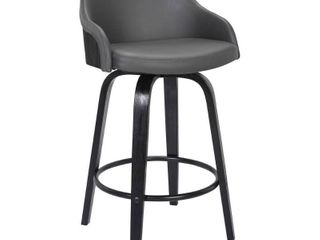 Alec Contemporary Swivel Barstool in a Wood Finish and Faux leather  Retail 159 99