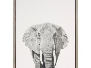 Simon Te Tai DesignOvation  Sylvie Elephant  Canvas Wall Art with Grey Frame
