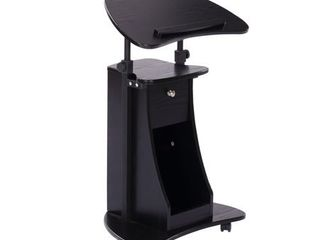 HomCom 32    46  Height Adjustable Vertical Rolling Standing Desk Mobile Podium   Black  Retail 98 99