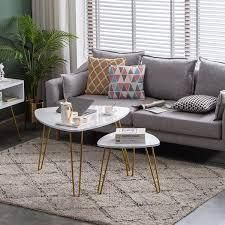 Modern Triangle Nesting Coffee Accent Table living Room Set Of 2 White Marble Gold  Retail 91 49