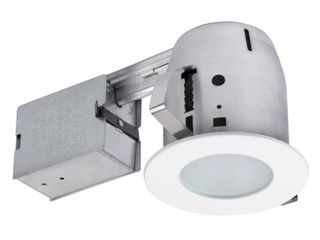 Globe Electric 90663 Frosted Glass Recessed Shower lighting Kit  Glossy White Finish  4 Inch