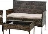 patio outdoor wicker bench brown missing wrap around the back legs