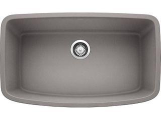 BlANCO Valea Undermount Granite Composite 32 in  Single Bowl Kitchen Sink in Metallic Gray