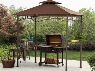 Sunjoy Brown Steel Rectangle Grill Gazebo  5 ft x 8 ft  Retail  349 95