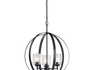 Kichler Winslow 3 light Black Modern Contemporary Cage Chandelier