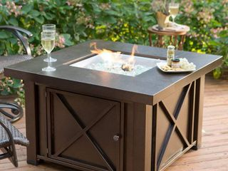 Hiland Square Steel Propane Fire Pit with Decorative Metal Work and lid  40 000 BTU  Bronze