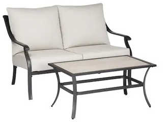 Elliot Creek loveseat and Coffee Table Gray Powder Coated Finish