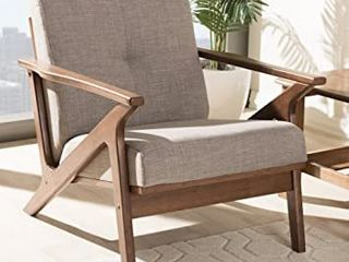 Baxton Studio Bianca light Grey Walnut Brown lounge Chair