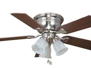 Harbor Breeze Centreville Brushed Nickel led Indoor Flush Mount Ceiling Fan