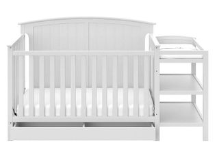 Storkcraft Steveston 4 in 1 Convertible Crib and Changer with Drawer  White  Distressed Box