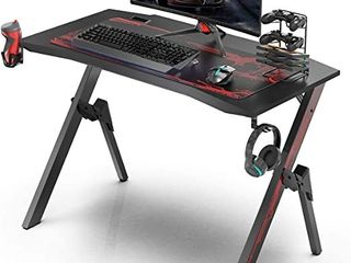 GAlAXHERO Gaming Desk  43 3  Gaming Computer Desk  Black Gamer Table with Cable Management Box  Cup Holder    Headphone Hook