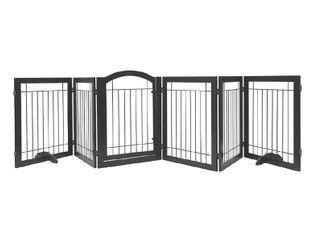 PAWlAND 144  Extra Wide 30  Tall Dog Gate w  Door   Freestanding Pet Gate   Espresso   6 Panels