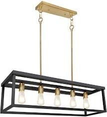 5 light Kitchen Island Pendant lighting   lED Bulbs Included  Industrial Dining Room light Fixtures   35 inch linear Chandelier   Brass   Black