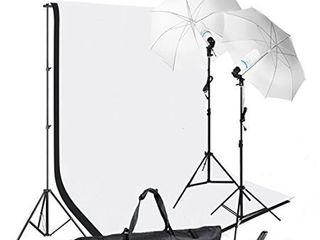 Slow Dolphin Photography Photo Video Studio Background Stand Support Kit with Muslin Backdrop Kits  White Black 1050W 5500K Daylight Umbrella lighting Kit