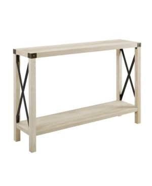 Walker Edison Furniture Barnwood Farmhouse Sqaure Accent Entryway Table  46 Inch  White