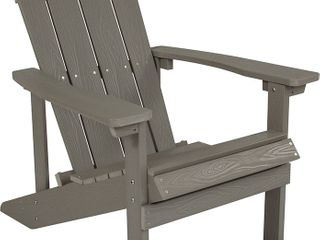 Flash Furniture Charlestown All Weather Adirondack Chair in light Gray Faux Wood