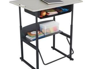 Safco Products AlphaBetter Adjustable Height Desk    36 W x 24 D Standard Desktop  Book Box  Swinging Footrest Bar