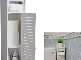 AOJEZOR Small Bathroom Storage Corner Floor Cabinet with Doors and Shelves  Thin Toilet Vanity Cabinet  Narrow Bath Sink Organizer  Towel Storage Shelf for Paper Holder  White
