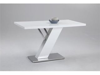 Chintaly Imports lINDEN DT M Gloss White Dining Table Top with Stainless Steel Base Plate  Pillar