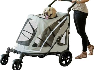 Pet Gear NO ZIP Stroller  Push Button Zipperless Dual Entry  for Single or Multiple Dogs Cats  Pet Can Easily Walk In Out  No Need to lift Pet  Fog  Expedition