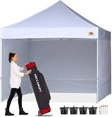 ABCCANOPY Canopy 10  x10  Pop Up Commercial Canopy Tent with Side Walls Instant Shade  Bonus Upgrade Roller Bag  Stakes and Ropes  White