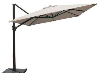Abba Patio Rectangular Offset Cantilever Umbrella Outdoor Patio Hanging Umbrella with Cross Base  8 x 10  Feet  Sand