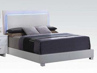 ACME lorimar Eastern King Bed  Headboard w lED    White   Chrome leg   Distressed Box