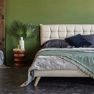 Queen Size   Upholstered Bed Frame w  Geometric Tufted Design on Mid Century Style legs   low Profile   Missing Parts  See Photos