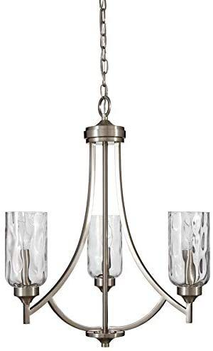 Allen  Roth 3 light chandelier brushed nickel finish clear textured glass shades21 94 in x 21 94 inx25 24in